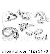 Clipart Of Grayscale Flowing Music Note Wave Designs 5 Royalty Free Vector Illustration