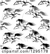 Clipart Of A Seamless Pattern Background Of Black And White Running Horses 2 Royalty Free Vector Illustration