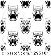 Clipart Of A Seamless Background Pattern Of Black And White Tragedy Theater Masks Royalty Free Vector Illustration