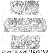 Clipart Of Black And White Lineart Celtic Animals Royalty Free Vector Illustration by Seamartini Graphics