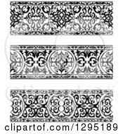 Clipart Of Black And White Ornate Floral Arabian Borders 2 Royalty Free Vector Illustration