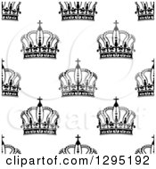 Clipart Of A Seamless Background Pattern Of Black And White Ornate Crowns 3 Royalty Free Vector Illustration