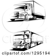 Clipart Of Black And White Big Rig Trucks Royalty Free Vector Illustration