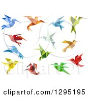 Clipart Of Colorful Geometric Birds Royalty Free Vector Illustration