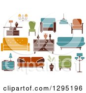 Clipart Of Retro Or Modern Furniture Royalty Free Vector Illustration