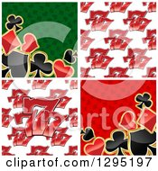 Clipart Of Seamless Casino Lucky Triple Seven Patterns And Playing Card Suit Backgrounds Royalty Free Vector Illustration