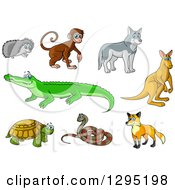Clipart Of A Cartoon Hedgehog Monkey Wolf Kangaroo Crocodile Fox Snake And Turtle Royalty Free Vector Illustration by Vector Tradition SM