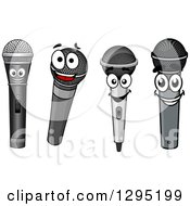 Clipart Of Microphone Characters Royalty Free Vector Illustration