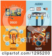 Clipart Of Flat Design Disco Audio Music And Band Items Royalty Free Vector Illustration