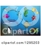 Clipart Of Sea Creatures Over Blue Royalty Free Vector Illustration