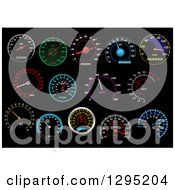 Clipart Of Colorful Illuminated Speedometers On Black 4 Royalty Free Vector Illustration