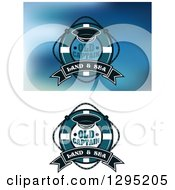 Clipart Of Captian Hats Life Buoy Designs With Sample Text Royalty Free Vector Illustration