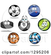 Clipart Of Sports Ball And Puck Characters 2 Royalty Free Vector Illustration