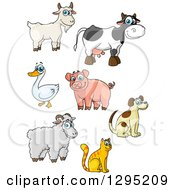 Clipart Of Cartoon Happy Farm Animals Royalty Free Vector Illustration by Seamartini Graphics