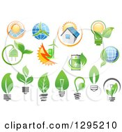 Clipart Of Green Energy Designs Royalty Free Vector Illustration