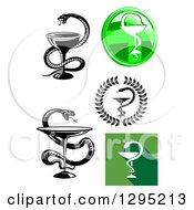Clipart Of Snake And Cup Medical Caduceus Designs Royalty Free Vector Illustration