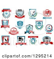 Clipart Of College And University Shields 3 Royalty Free Vector Illustration by Vector Tradition SM