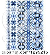 Clipart Of Blue Black And White Vertical Native American Styled Borders 2 Royalty Free Vector Illustration by Vector Tradition SM