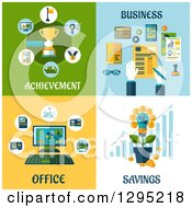 Flat Design Achievement Business Office And Savings