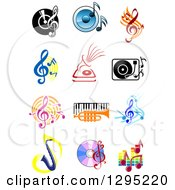 Clipart Of Music Instruments Notes And Items Royalty Free Vector Illustration by Vector Tradition SM