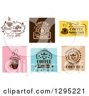 Clipart Of Coffee Text Designs Royalty Free Vector Illustration