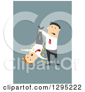 Clipart Of A Flat Modern White Businessman Shaking Money Out Of An Employees Pockets Over Blue Royalty Free Vector Illustration