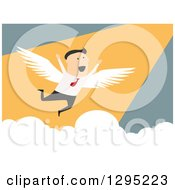 Clipart Of A Flat Modern White Businessman Flying And Cheering Over Blue Royalty Free Vector Illustration
