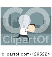 Clipart Of A Flat Modern White Businessman With A Light Bulb Head Carrying His Face Over Blue Royalty Free Vector Illustration