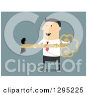 Clipart Of A Flat Modern White Businessman Inserting A Key In A Hole Over Blue Royalty Free Vector Illustration