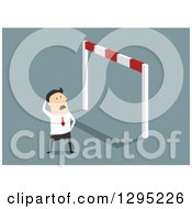 Clipart Of A Flat Modern White Businessman Looking Up At A Very High Hurdle Over Blue Royalty Free Vector Illustration