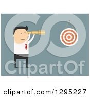 Clipart Of A Flat Modern White Businessman Viewing A Dart Board With A Telescope Over Blue Royalty Free Vector Illustration