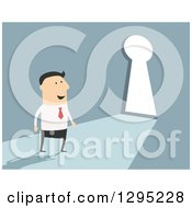 Clipart Of A Flat Modern White Businessman Approaching A Key Hole Door Over Blue Royalty Free Vector Illustration