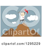 Clipart Of A Flat Modern White Businessman Cheering With A Flag On Top Of A Mountain Over Blue Royalty Free Vector Illustration by Vector Tradition SM