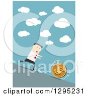 Clipart Of A Flat Modern White Businessman Chasing A Coin Downhill Over Blue Royalty Free Vector Illustration