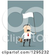Clipart Of A Flat Modern White Businessman Waving A White Flag In Surrender Over Blue Royalty Free Vector Illustration by Vector Tradition SM