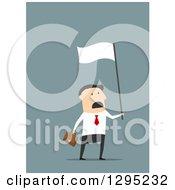 Flat Modern White Businessman Waving A White Flag In Surrender Over Blue