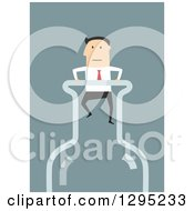 Clipart Of A Flat Modern White Businessman Stuck In A Bottle Top Over Blue Royalty Free Vector Illustration