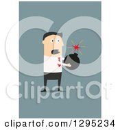 Clipart Of A Flat Modern White Businessman Holding A Bomb Over Blue Royalty Free Vector Illustration