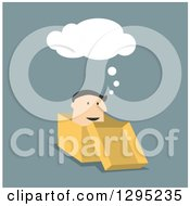Clipart Of A Flat Modern White Businessman Thinking In A Box Over Blue Royalty Free Vector Illustration