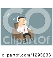 Clipart Of A Flat Modern White Businessman Listening To Music And Sitting In A Chair Over Blue Royalty Free Vector Illustration