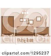 Clipart Of A Brown Toned Living Room Interior With Sample Text Royalty Free Vector Illustration by Vector Tradition SM