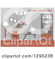 Clipart Of A Brown Gray And White Toned Living Room Interior With Sample Text Royalty Free Vector Illustration by Vector Tradition SM