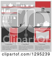 Clipart Of A Kitchen Interior With Sample Text In Black Red And Gray Tones Royalty Free Vector Illustration