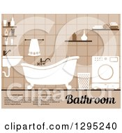 Clipart Of A Brown Toned Bathroom Interior With A Sink Clawfoot Tub Washing Machine And Sample Text Royalty Free Vector Illustration