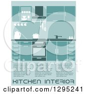 Clipart Of A Kitchen Interior With Sample Text In Blue Tones Royalty Free Vector Illustration