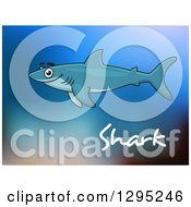 Cartoon Happy Swimming Shark Over Text And Blue Blur