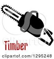 Clipart Of A Black Silhouetted Chainsaw Over Red Text Royalty Free Vector Illustration