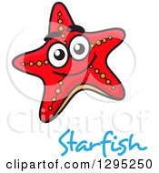 Clipart Of A Cartoon Happy Red Starfish Over Blue Text Royalty Free Vector Illustration