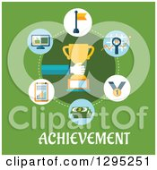 Flat Design Hand Holding A Trophy In A Circle Of Icons Over Achievement Text On Green