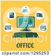 Poster, Art Print Of Flat Design Desktop Computer With Icons And Office Text On Yellow